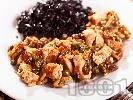 Снимка на рецепта Пуешко месо със стафиди, каперси и кедрови ядки